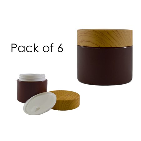 BioRx Sponix Bamboo Style Plastic Container - For Cosmetics, Creams, Lotions - Includes Jar, Lid and Cover - 50 grams / mL - 6 PCS