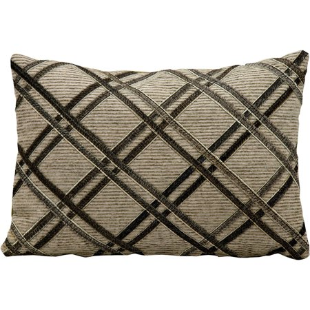 Double Diagonal Leather Hide Throw Pillow by Nourison