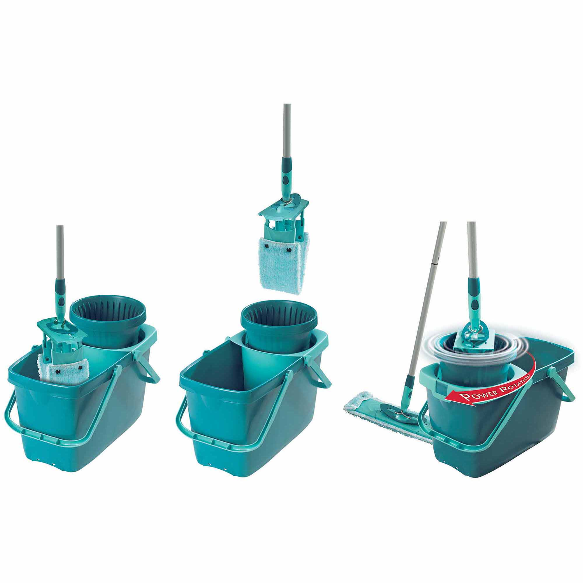 Leifheit Clean Twist XL Rectangle Mop/Sweeper Set with Mop and Spin Bucket, Turquoise