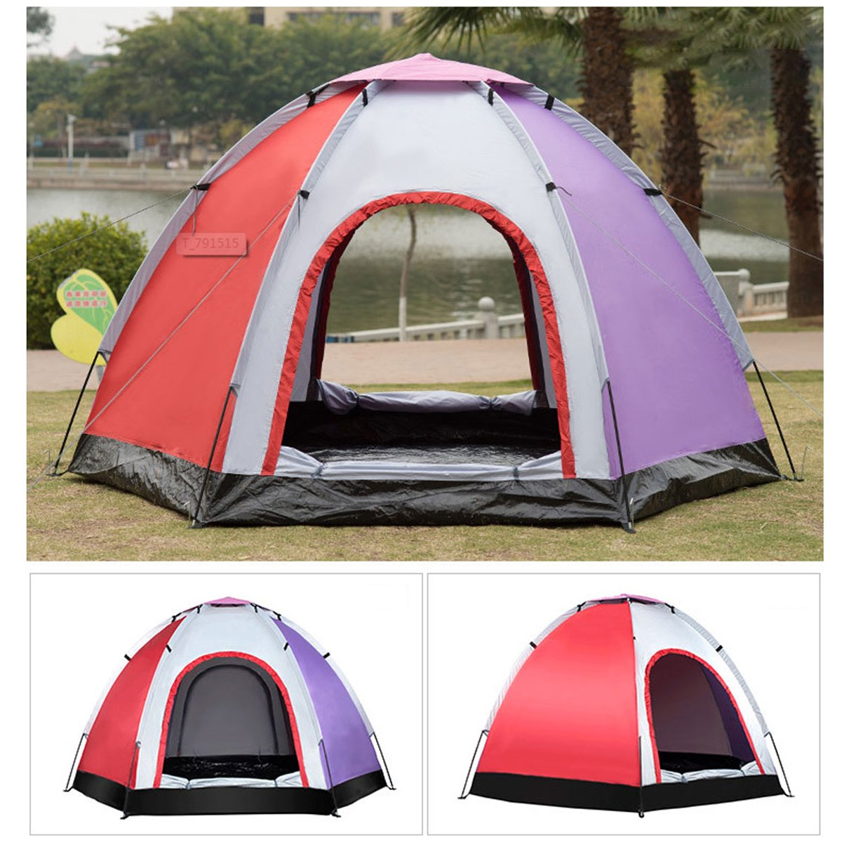 wholesale dealer 3cb54 49d0f 8x8 foot 4-Person Huge Camping Tent Family Instant Tent Cot Double-layer  Waterproof For Outdoor Hiking Fishing Beach outdoortent Camping Traveling  ...