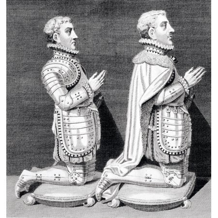 Henry Stuart Lord Darnley Left 1545 To 1567 Second Husband Of Mary Queen Of Scots And Charles Stuart Earl Of Lennox Right 1555 To 1576 Kneeling By Their Mothers Tomb In Westminster Abbey From