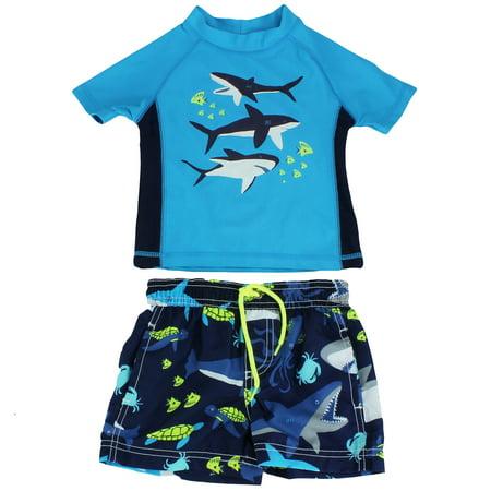 487f132c3fd0a Carter's - Carter's Whale Rash Guard Set Boys Swim Trunks Blue 2T -  Walmart.com