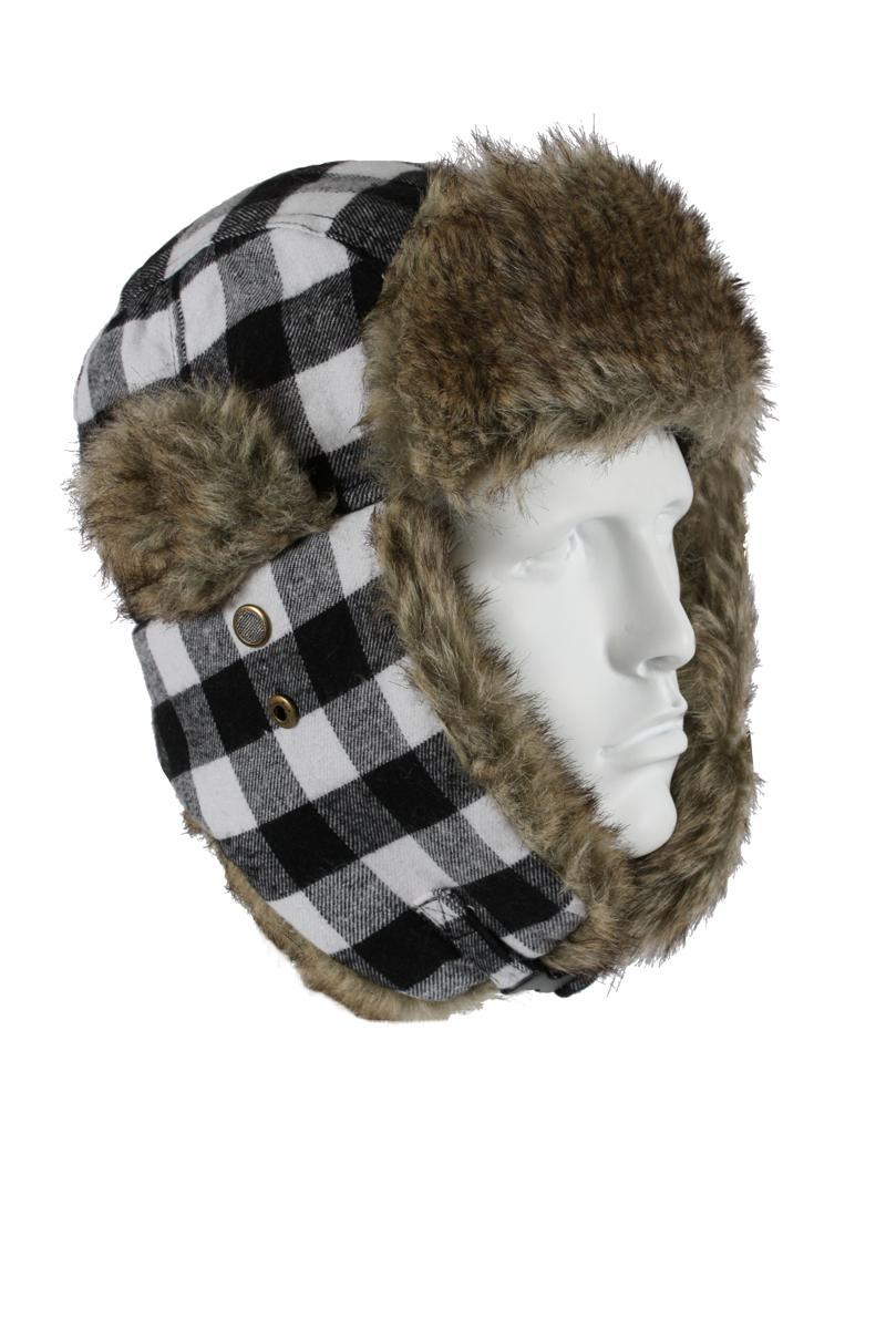 Vintage Flyers Winter Hat, White Plaid w GreyFur by Rothco