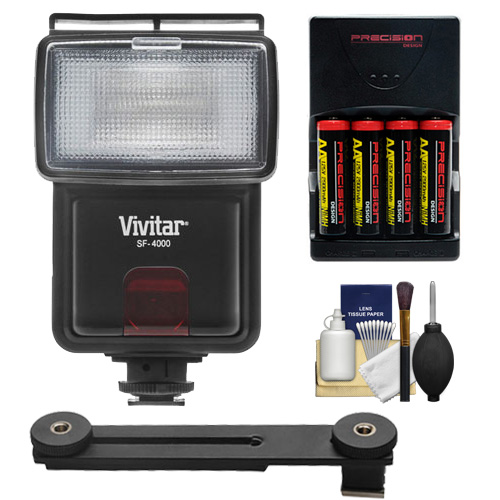 Vivitar SF-4000 Auto Bounce Zoom Slave Flash with Bracket + AA Batteries & Charger + Cleaning Kit for Nikon 1 J1, J2, J3, S1, V2, V3 Digital Cameras
