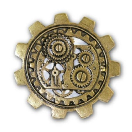 Steampunk Gear Bronze Vintage Brooch Large Gears Broach Costume Adult Jewelry