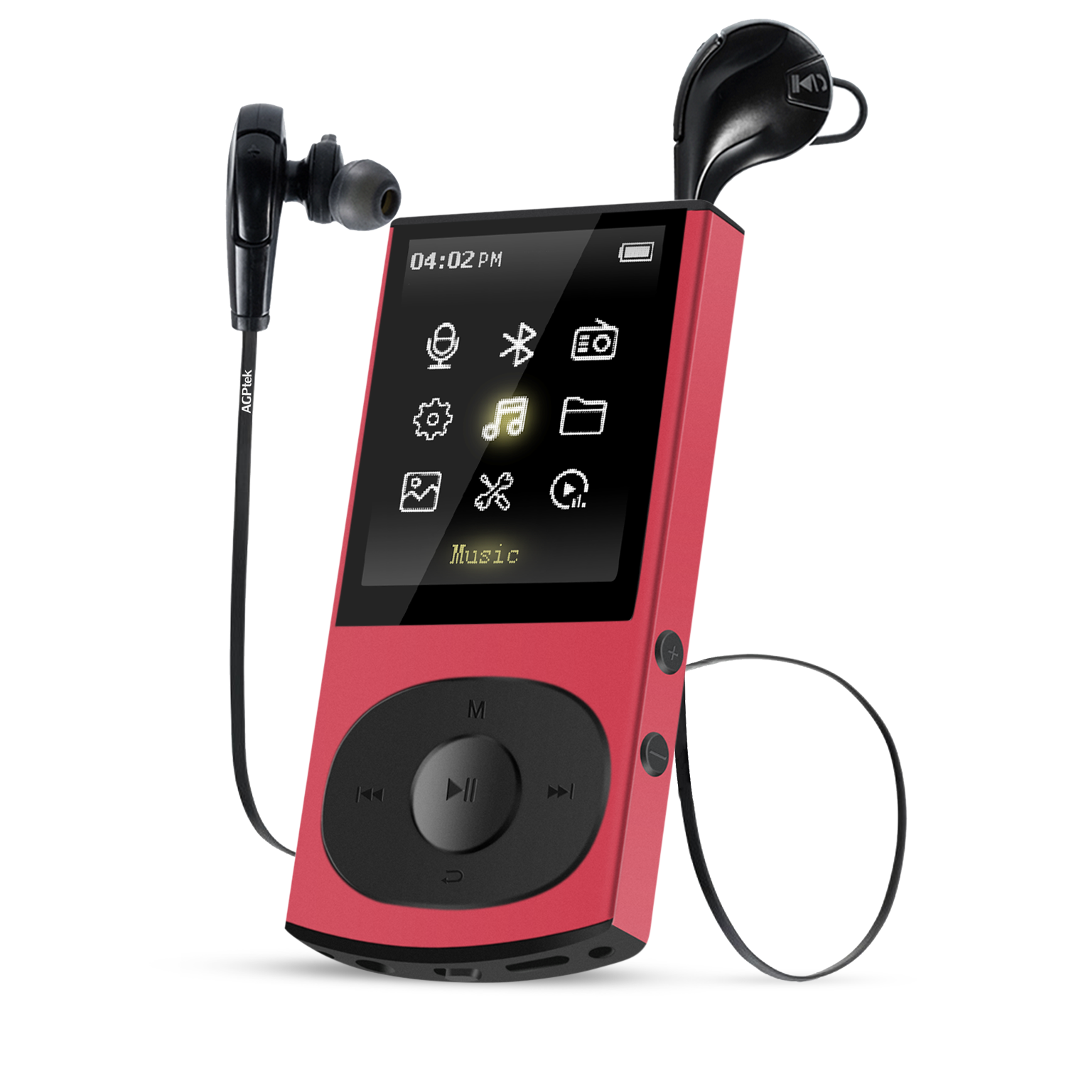 AGPTEK C3 8GB Bluetooth 4.0 MP3 Player with Bluetooth Wireless Headphones,Lossless music player with FM Radio, Red