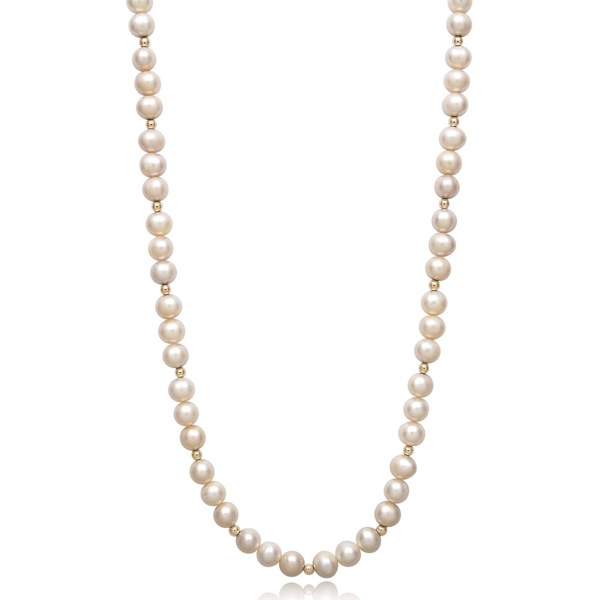"6-7mm Genuine White Cultured Freshwater Pearl and 14kt Yellow Gold Bead Necklace, 18"" by China Pearl"