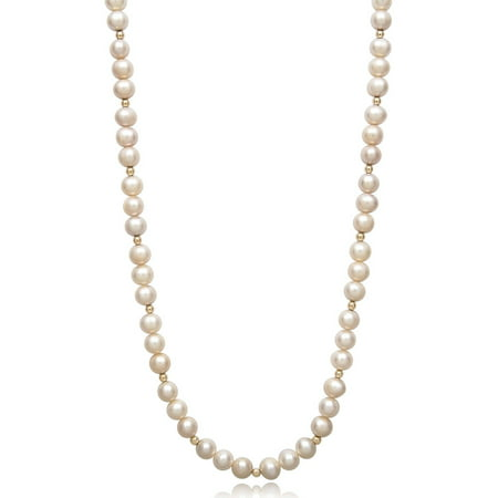 Cultured White Freshwater Pearl and 14K Yellow Gold Bead Necklace, 18