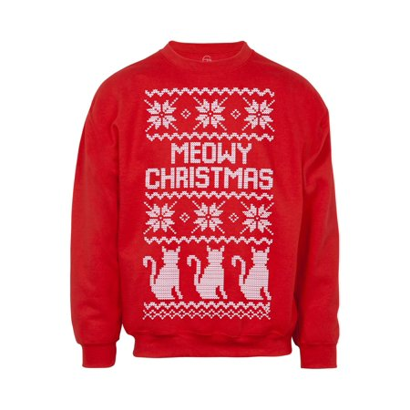 Mens Meow Christmas Cat Ugly Christmas Sweatshirt 4X Large