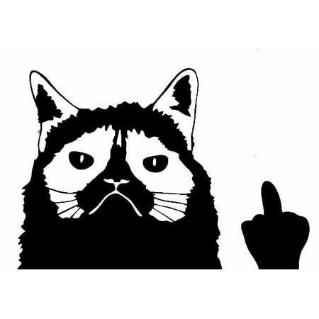 BLACK Grumpy Cat Flippin' Off Funny Car Truck Window Sticker Vinyl Decal Meme ()