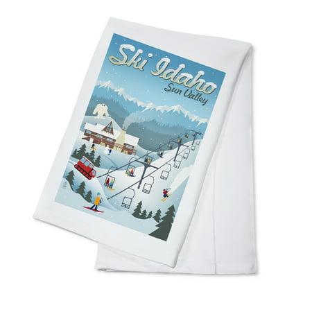 - Sun Valley, Idaho - Retro Ski Resort - Lantern Press Artwork (100% Cotton Kitchen Towel)