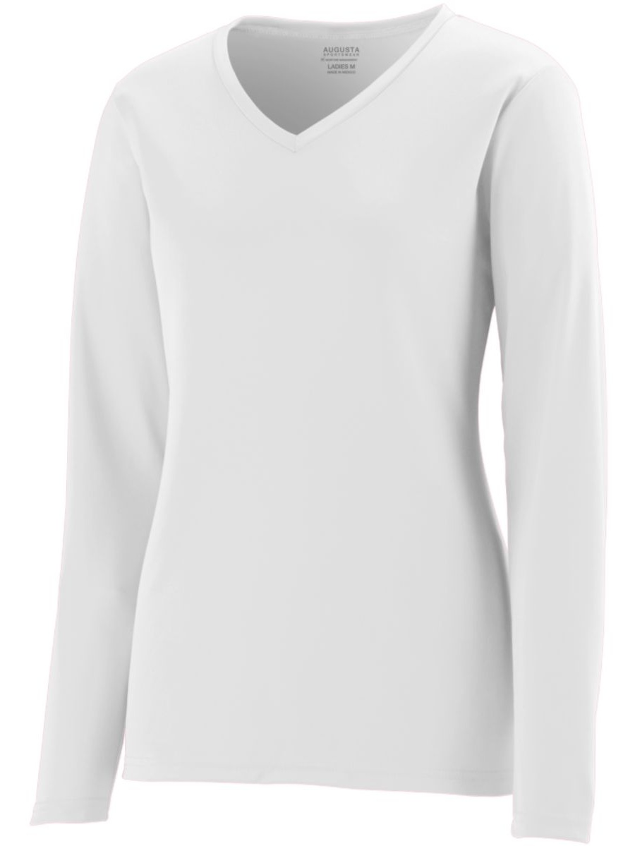 Augusta GIRLS L/S WICKING T-SHIRT WHITE S