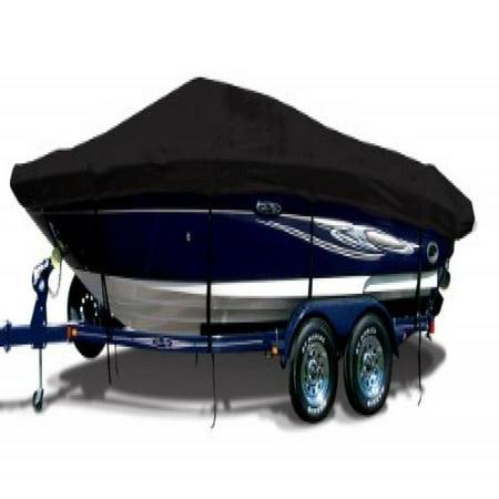 Jet Black Exact Fit Boat Cover Fitting 1997 2003 Alumacraft 165 Magnum Tiller No Troll Mtr O B Models  9 25 Oz  Sunbrella Acrylic