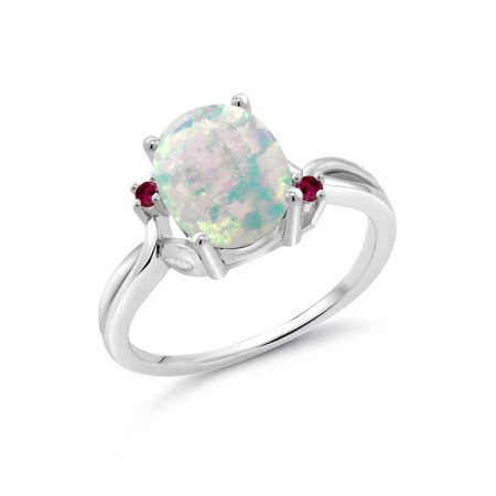 1.73 Ct Oval Cabochon White Simulated Opal Red Created Ruby 925 Silver