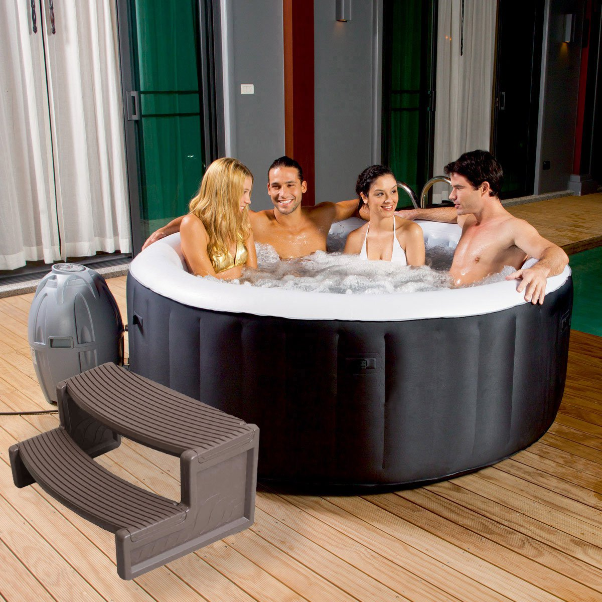 Confer Plastic HS2-P Resin Multi Purpose Spa Hot Tub Handi-Step Steps Portabello