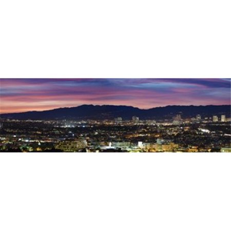 High angle view of a city at dusk  Culver City  Santa Monica Mountains  West Los Angeles  Westwood  California  USA Poster Print by  - 36 x 12](Party City Westwood)