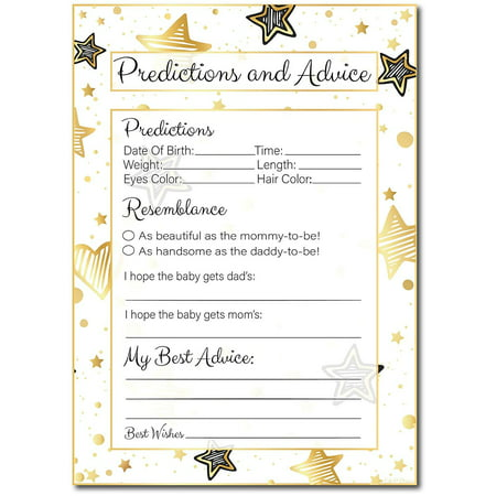 20 Golden Stars Advice and Prediction Cards For Baby Shower Game, Mommy & Daddy to be, New Mom And Dad Card, New Parent Message Advice Book, Fun Gender Neutral Shower Party Favors, For Girl Or Boy