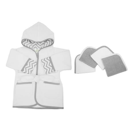 Hooded Terry Cloth Robe - American Baby Company Hooded Terry Cloth Bath Robe and 4 Piece Organic Cotton Washcloth, Grey Zigzag, for Boys and Girls