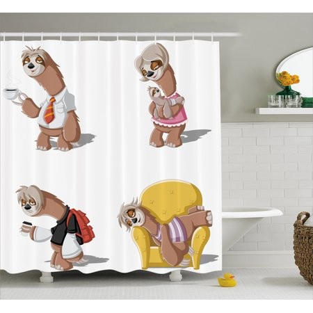 Sloth Shower Curtain  Cartoon Lazy Sloths Family Father Mother Baby Resting Drinking Coffee Going To Work  Fabric Bathroom Set With Hooks  69W X 70L Inches  Multicolor  By Ambesonne
