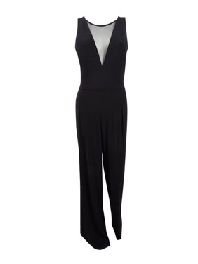 Nightway Women's Illusion-v Wide-Leg Jumpsuit (10, Black)