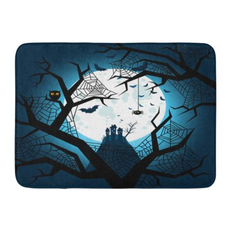 GODPOK Dead Black Cartoon Halloween Bats Flying in The Night with Full Moon on Dark Blue White Celebration Evil Rug Doormat Bath Mat 23.6x15.7 inch (Full Moon On Halloween Night)