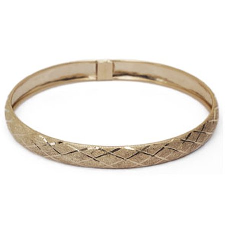 10K Yellow Gold Flexible Bangle Bracelet With Preppy Diamond Cut Design Available in 7 and 8 Inch Lengths