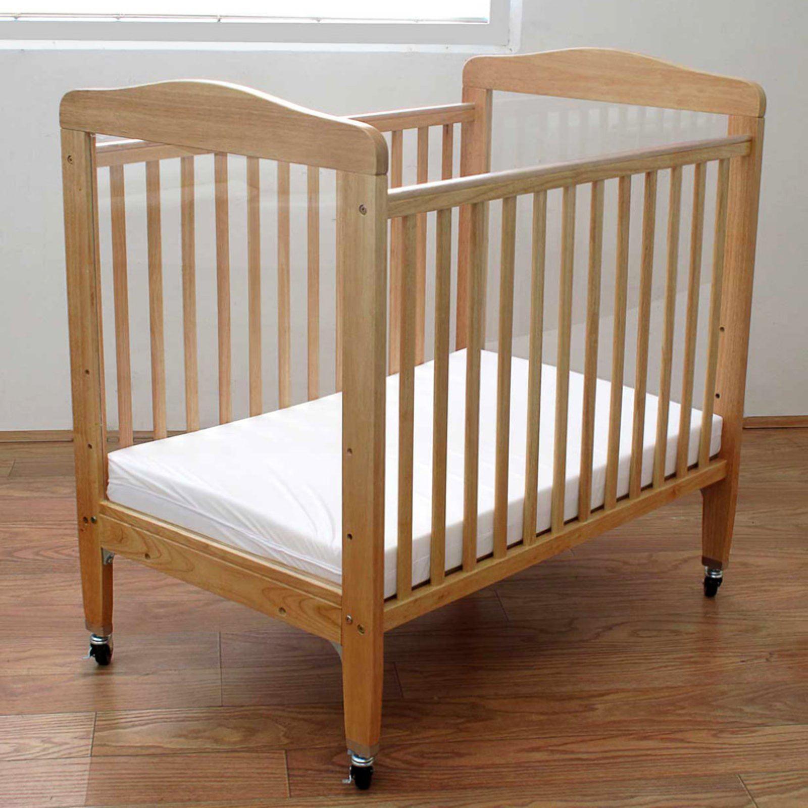 L.A. Baby Portable Mini Crib with Mattress Natural