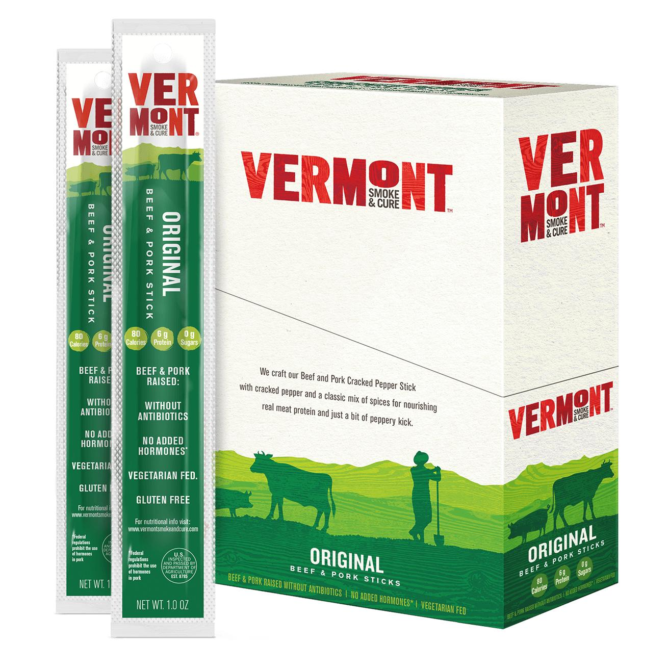 Vermont Smoke & Cure Meat Sticks, Beef & Pork, Antibiotic Free, Gluten Free, Cracked Pepper, 1oz Stick, 24 Count