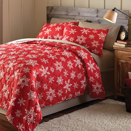 Mainstays Holiday Snowflake Printed Bedding Quilt Set Red
