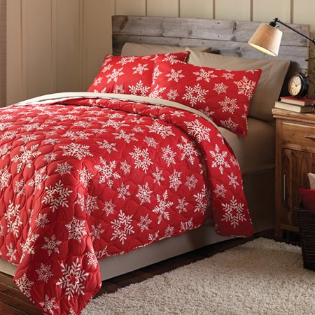 Mainstays Holiday Snowflake Printed Bedding Quilt Set, Red ... : red quilts bedding - Adamdwight.com