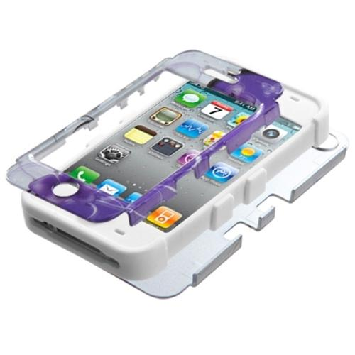 Insten Twilight Petunias (2D Silver)/Solid White TUFF Hybrid Rugged Hard Shockproof Case For iPhone 4/4S