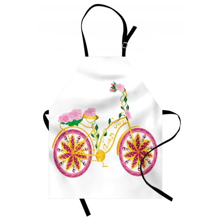 Bicycle Apron Fantasy Bike with Exotic Swirling Floral Detail on the Seat and Tires Hippie Image, Unisex Kitchen Bib Apron with Adjustable Neck for Cooking Baking Gardening, Pink Yellow, by Ambesonne