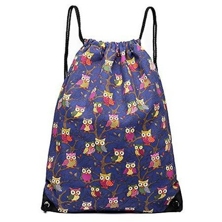d54068a813 Miss Lulu - Cotton Canvas Waterproof Printed Drawstring Gym Work Backpack  Rucksack (Owl N... - Walmart.com