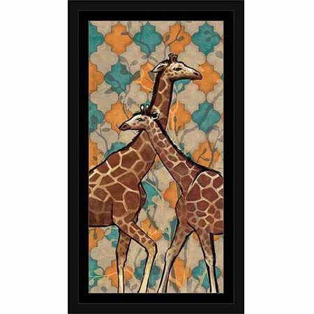 Giraffe Safari Pair Moroccan Quatrefoil Pattern Painting Blue & Orange, Framed Canvas Art by Pied Piper Creative