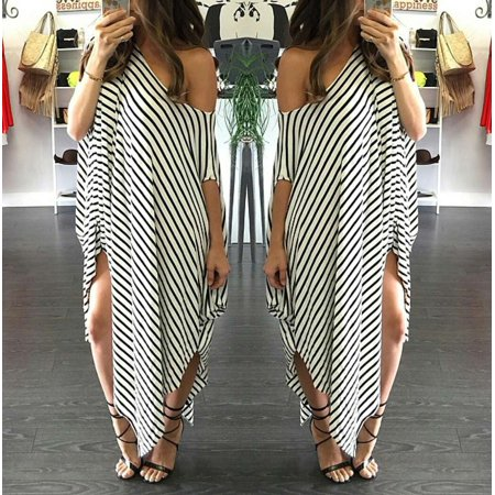 New Women Loose Long Dress Striped Batwing Sleeve Off-shoulder Split Asymmetric Casual Maxi Plus Size Dress