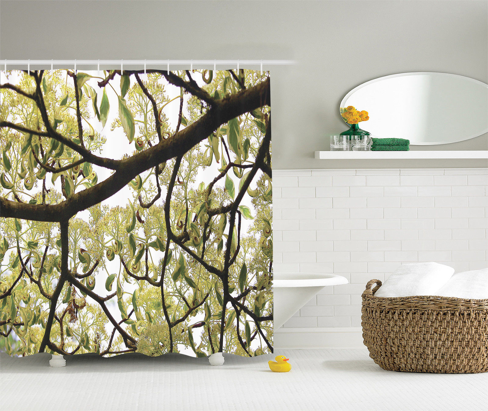 Farmhouse Decor Dogwood Tree Seeds Bonsai Art Nature Bright Sky Shower Curtain by Kozmos