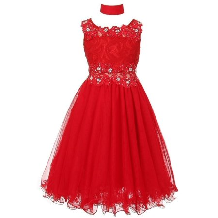 Girls Red Lace Mesh Rhinestone Wired Flower Girl Dress 8-20 for $<!---->