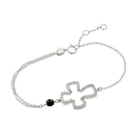 .925 Sterling Silver Rhodium Plated Cross Black Enamel Bracelet