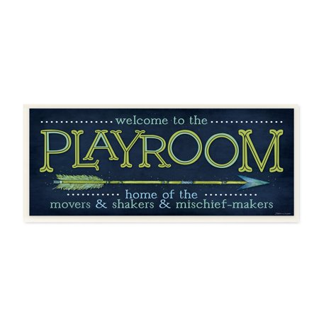The Kids Room by Stupell Playroom Home Of Mischief Makers Blue Wall Plaque Art, 7 x 0.5 x -