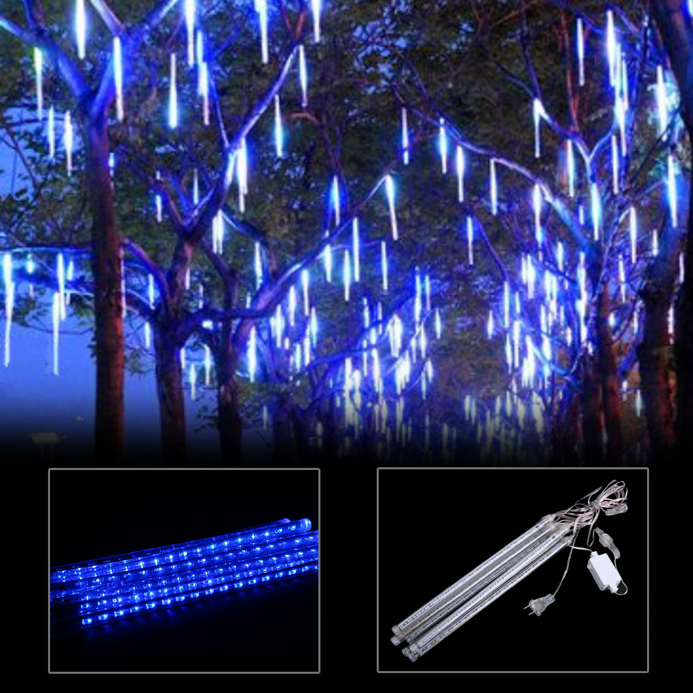 meteor shower rain 8 tube 30cm led string lights christmas decorative lamp