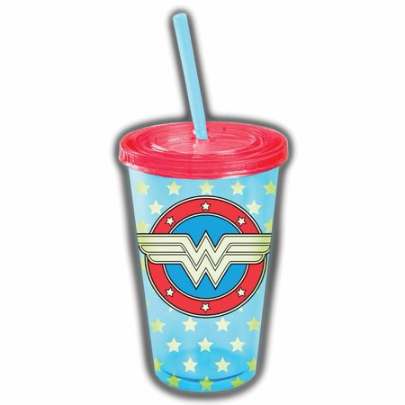 Wonder Woman Glow In The Dark Plastic Lidded Cup With Straw