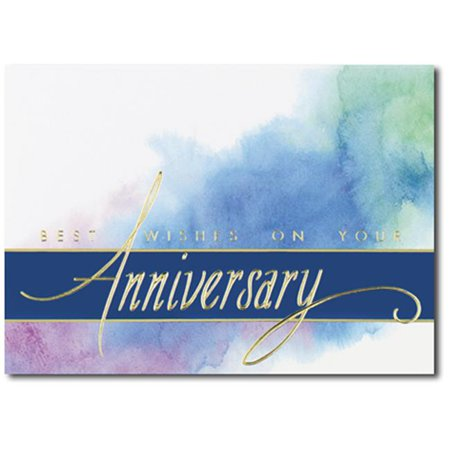 Birchcraft Studios 4394 Anniversary Best Wishes   Gold Lined Envelope With White Lining   Blue Ink   Pack Of 25