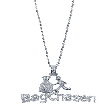 New 10K White Gold Tone Real Sterling Silver Bag chasen Charm Necklace Chain Set (Real Silver Dollars)