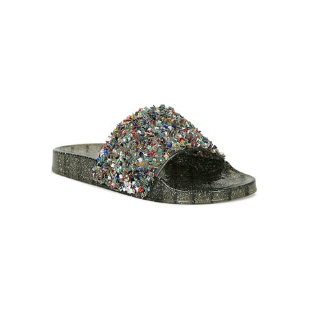 Women Jelly Textured Square Rhinestone Glitter Slide Flat Sandal - Womens Jelly