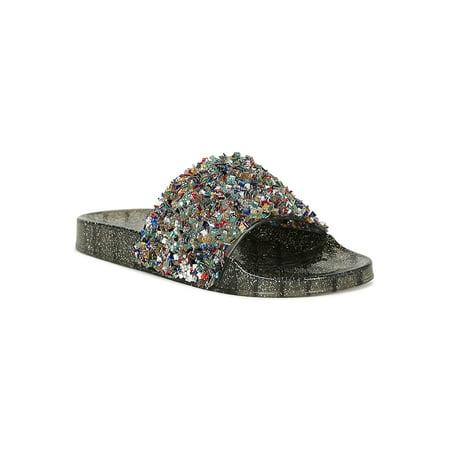 Women Jelly Textured Square Rhinestone Glitter Slide Flat Sandal 18877 (Ladies Jelly)