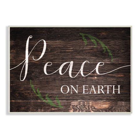 Earthy Wood (The Stupell Home Decor Collection Holiday Rustic Wood Look Peace On Earth Planked Typography Oversized Wall Plaque Art, 12.5 x 0.5 x 18.5 )