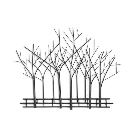 DecorShore Winter Trees Perspective Wall Sculpture, Contemporary Metal Wall Art, Artisan Handcrafted Wire Sculpture, Mid Century Wall Decor