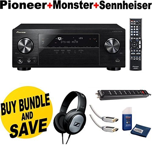 Pioneer VSX-830-K 5.2-Channel AV Receiver with Built-In Bluetooth and Wi-Fi (Black) + Sennheiser HD201 Lightweight