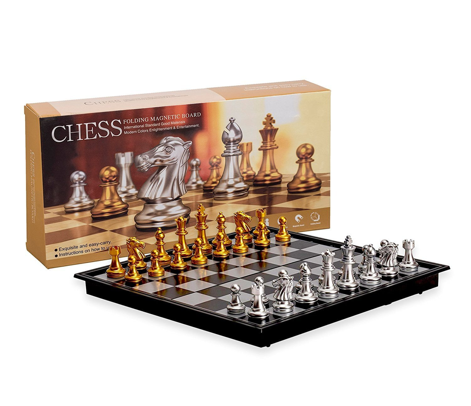 Magnetic Travel Chess Set with Board That Becomes A Storage Compartment by Big Mo'S Toys