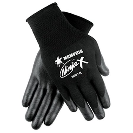 Memphis Glove N9674M Ninja X Nylon/Spandex Shell Gloves with Bi-Polymer Dipped Palm and Fingertips, Black, Medium, 1-Pair ()